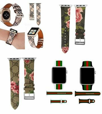 Apple Watch LV Gucci Grid Pattern Leather Replacement Band Strap 38mm 42mm USA
