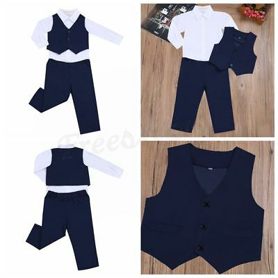 3Pcs Kids Baby Boys Gentleman Outfits Long Sleeve Shirt+ Pants Vest Clothes Suit