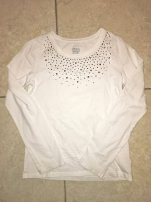 Faded Glory Girls 10-12 White Embellished Long Sleeve Tee Top