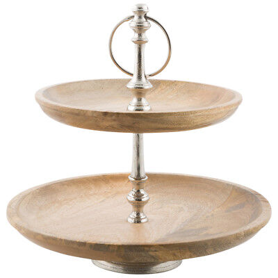 NEW Pinda 2 Tier Aluminium And Wood Fruit Stand Lifestyle Traders Serving Pieces