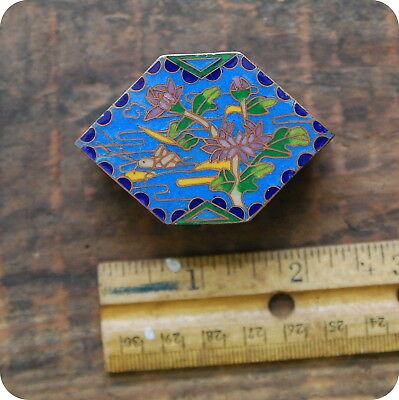 Vintage Style Cloisonne Trinket Pill Box, Small, Tiny, Enamel, Painted, Chinese,