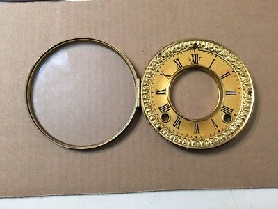 Antique Ansonia Open Escapement Clock Dial & Bezel Door With Glass