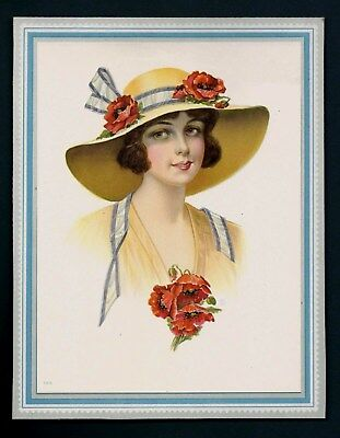 Antique Vintage 1920's Calendar Top Print Of Woman And Red Poppy Flowers