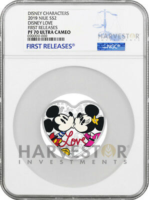 2019 Disney Love Coin - Heart Shaped Silver Coin - Ngc Pf70 First Releases - Ogp