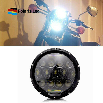 "7"" Motorcycle Black Projector Headlight Hi/Lo LED Light Kit For Harley"