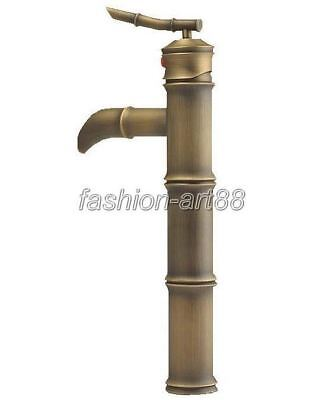 Antique Brass Single Handle Bamboo Shape Bathroom Faucet Mixer Water Tap fnf025