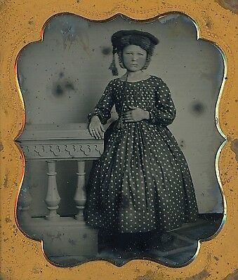 Young Girl Wearing Unusual Fur Hat with Tassels 1/6 Plate Ruby Ambrotype A108