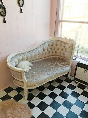 Rococo shabby chic vintage style velvet chaise lounge couch two seater