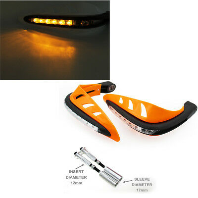 Motorcycle Handlebar Mounting Hand Guard Wind Protector With LED Amber Light 12V