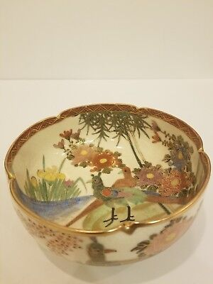 "ANTIQUE JAPANESE SATSUMA BOWL LARGE 1800's -1899's 19th CENTURY GOLD 6"" DIAMETER"