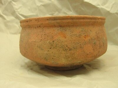 Ancient Roman 4 1/4 by 2 3/4 inch Pottery Footed bowl