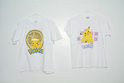 Pokemon Vintage 2 Pikachu T-Shirts 1999 Youth Large 90s