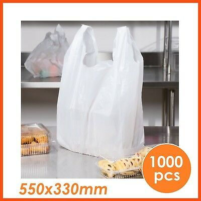 1000pcs PLASTIC BAGS BULK SINGLET CARRY GROCERY CHECKOUT SHOPPING BAGS 550x330mm