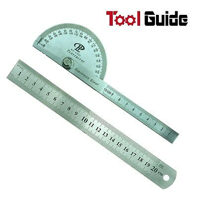 "Stainless Steel 180 Protractor Angle Finder Arm Measuring 100mm +8"" 200mm Ruler"