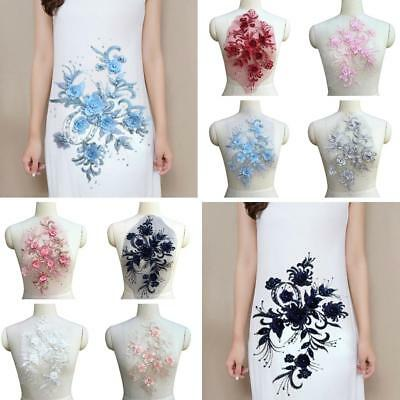 3D Flower Embroidery Lace Applique Pearl Beaded Tulle DIY Bridal Wedding Dress
