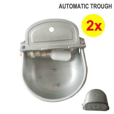 2x Automatic Water Trough Fill Bowl Steel Feeder Sheep Horse Dog Chicken Cow