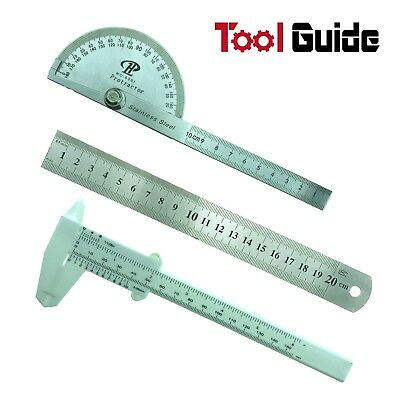 "Vernier Caliper+Stainless Steel 180 Protractor Angle Finder 100mm+8"" 200mm Ruler"
