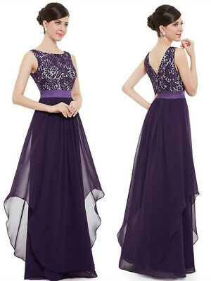 Womans Chiffon Lace Evening Formal Party Ball Gown Prom Bridesmaid Long Dress AU