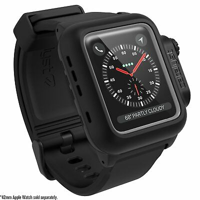 Catalyst Waterproof 42mm Apple Watch Case for Series 3 + Silicone Band (Black)