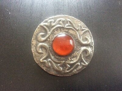 Vintage Antique Arts & Crafts Celtic Pewter Brooch Ruskin style Orange Cabochon
