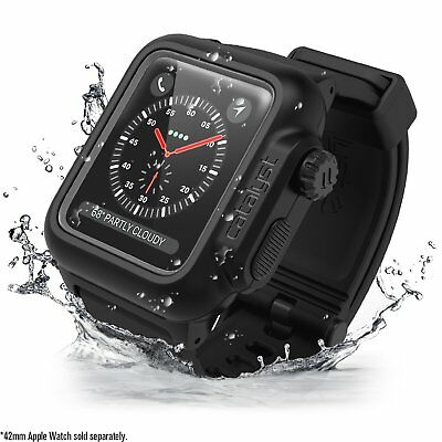 Catalyst Waterproof 38mm Apple Watch Case for Series 3 + Silicone Band (Black)