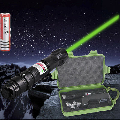 Adjustable Green Beam Laser Pointer 532nm Boxed Light Pen With  5 Star Caps Pro.