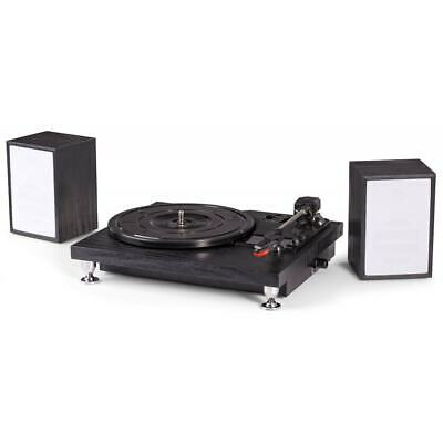 Fenton Black Finish Vinyl Record Player Turntable w/ Speakers & USB RP155B