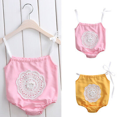 Newborn Baby Girls Lace Jumpsuit Floral Romper Bodysuit Outfit Set Sunsuit 0-24M