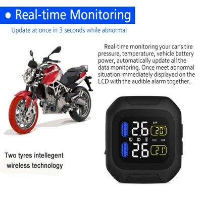 Wireless Motorcycle Tire Pressure Alarm Monitor Monitoring TPMS Display Sensor
