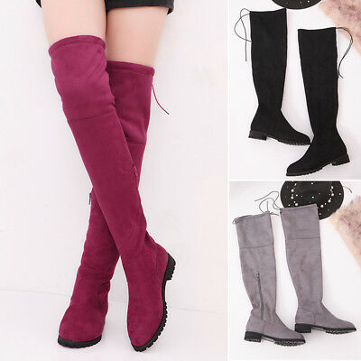 a093ab3baba WOMENS THIGH HIGH Flat Boots Suede Side Zip Ladies Over Knee Shoes Low Heel  Size