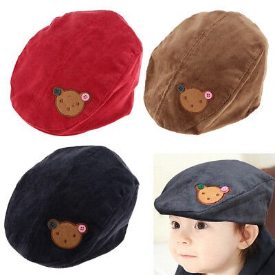 Baby Boy Kids Toddler Beret Cabbie Flat Peaked Hat River Cap