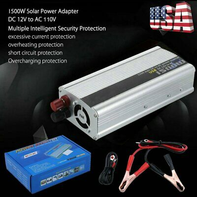 1500/3000W Car Power Inverter 12V DC to 110V AC Modified Sine Wave Converter