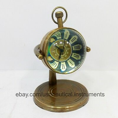 Antique Brass Table Decor Desktop Nautical Roman Number Clock