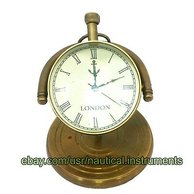 Vintage Brass Table Desktop Nautical Anchor London Clock