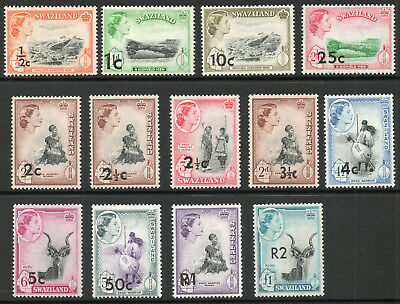 Swaziland 1961 QEII Overprint set of mint stamps value to R2 Mint Hinged