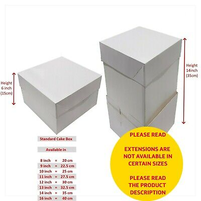 "Cake Box Wedding Celebration Optional Height Extension  8"" 10"" 12"" 14"" 16"" - UK"