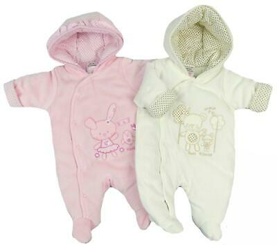 Baby Girls Snowsuit Padded Velour Feel Pink or Cream Newborn to 3-6 Months