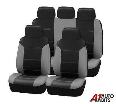 Peugeot Partner Tepee 2008>  Grey Black Leather Look Full Car Seat Covers Set