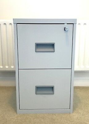 Home Office Grey 2 Drawer Metal Lockable Filing Cabinet 40 x 40 x 66 cm