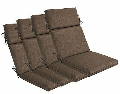 Bossima Outdoor Seat Pad Cushions Patio High Back Dining Chair Coffee, Set of 4