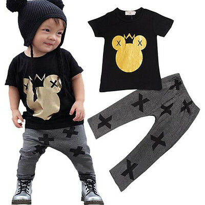 Kids Baby Boys Mickey Mouse Cotton Outfits Summer Casual Top + Long Pants Set