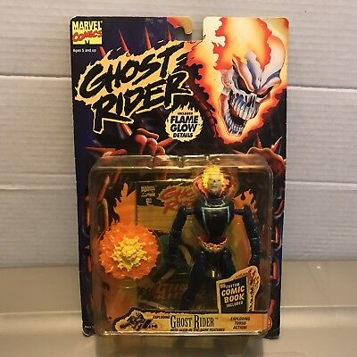 Vintage 90s Ghost Rider Flame Glow Exploding Ghost Rider Action Figure Marvel