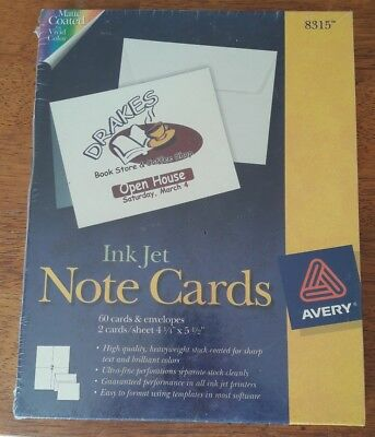 Avery Note Cards for Inkjet Printers 4 1/4 x 5 1/2 Matte White 60/Pack