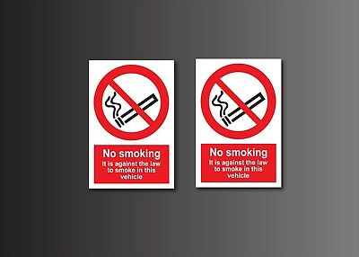 No Smoking In Vehicle warning stickers *Pack of 2* 100x150mm  Safety Sign