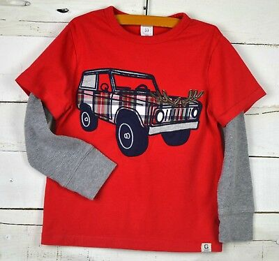Boys Baby GAP Sz 4y Red Gray l/s Double Sleeve Plaid Jeep Car Applique Shirt Top