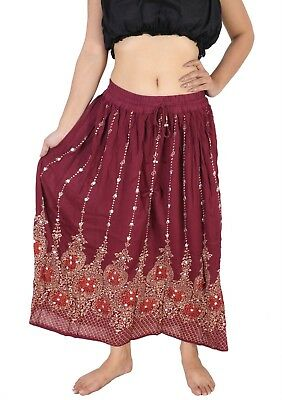 Wevez New Boho Sequin Embroidery Skirts Rayon Fabric 10 Pc