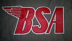 BSA Motorcycles 12 inch back patch. red on white. Synthetic leather. NEW NICE