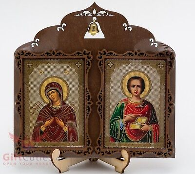 Wooden Icon of Saint Pantaleon & Our Lady of seven Sorrows Virgin Mary