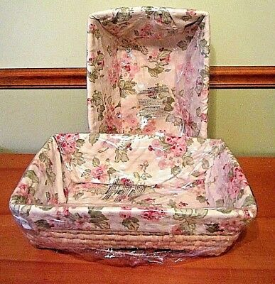 2 Wendy Bellissimo Vintage Teaberry Floral Basket 11x17x6 New