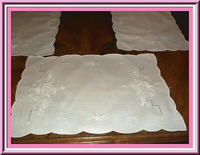 Lovely Set Of 8 White On White Embroidered Placemats With Scalloped Edges